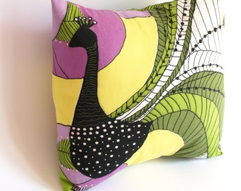 """Pillowcase for throw pillows white with colorful abstract peacock 14""""x14"""" Floor Cushions Accent Pillows"""
