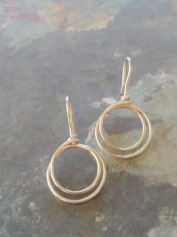 Small Sterling Silver Earrings, Round, Sterling Silver Double hoop earring, Small, two circles, SS .925/10, dmalia designs