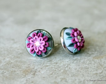 Lovely Polymer Clay Applique Statement Stud Earrings in Grey and Purple