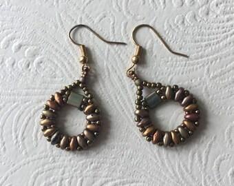 Beaded Dangling Hoop Earrings