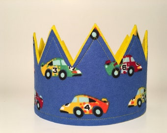 Car Crown, Boys Birthday Crown, Race Car Crown, Boys Party Hat, Photo Shoot Prop, First Smash Cake Crown, Boys First Birthday Hat, Party Hat