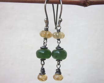 Serpentine & hessonite garnet earrings, green yellow carved gemstone dangle earrings, elegant drop stone earrings, oxidized sterling silver