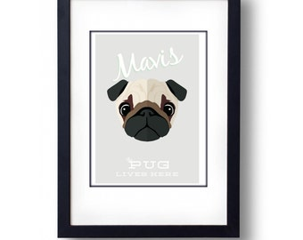 Personalised Pug Print- A3 Print