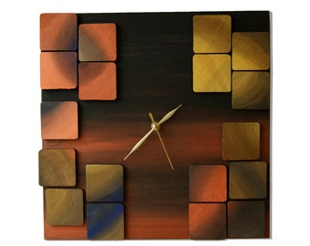 Deco Mystic / Wood wall clock / Geometric mosaic / Original design Liliana Stoica