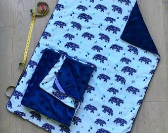 Bear minky blanket 100x75