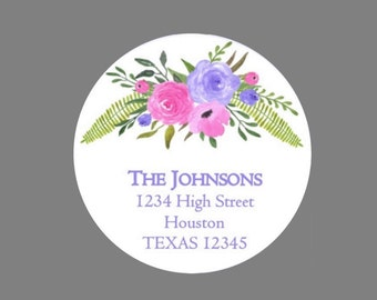 Return address labels round flowers and ferns pink and purple clear matte gloss personalised labels floral stickers watercolour look