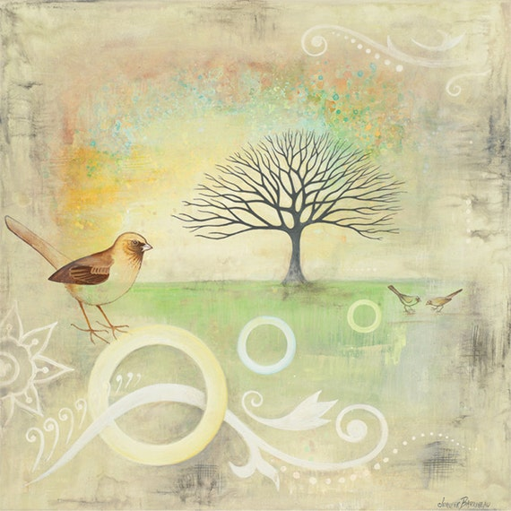 Pretty Birds with Tree Square Subtle Trendy Colors Art Print  from an original painting By Jennifer Barrineau