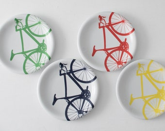 BLUE Bicycle Dinner Plates, Set of 4 navy
