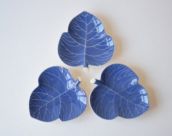 Set of 3! Aluminia / Royal Copenhagen - LINNEA Blue - Leaf Shaped Dish - Nils Thorsson - 1950s - Danish Mid-century