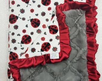 Minky blanket Baby blanket, soft blanket, Baby girl, ladybug blanket, red and grey, ruffle blanket, baby gift, elegant blanket, lady bug
