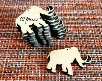 10 pieces. Wooden elephant made of plywood laser cutting Unfinished work for hand craft Billet for making festive decorations Christmas tree