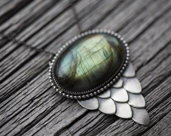 medusa necklace. large snake scale pendant. labradorite gemstone. snakescale accent. beaded border. snake shape silhouette