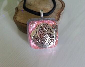 Pink Silver Orgone Energy Pendant -Quartz Crystal, Pyrite