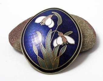 Vintage Fish and Crown Enamel Brooch, Snowdrop Pin, Blue Flower Brooch, Fuchsia Pin, Gold Tone Pin, 1980s