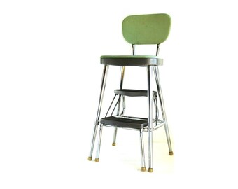 Vintage Ames Maid Green and Grey Ladder Step Stool-Reserved