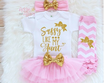 Sassy Like My Auntie, Baby Shower Gift, Baby Girl Outfit, Baby Girl Clothes, Newborn Girl Outfit, Take Home Outfit, Coming Home Outfit, G2P