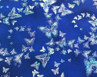 New ~  Allover Butterflies Blue Color Dutchess Metallic Collection by Chong-a Hwang for Timeless Treasures Collection, Cotton Quilt Fabric