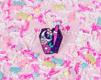 Lipstick Coffin Enamel pin // Lipstick Enamel  pin // Mystic pins, pingame
