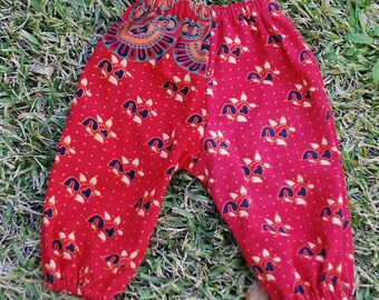 Hippie Kids Harem pants -size 1- Red flower -Children's pants, Boho, gypsy, Yoga, Toddler pants,Boys or Girls-read measurements