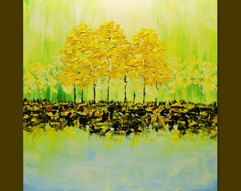 Acrylic painting Colorful Blooming Green Trees