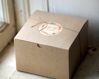 Kraft Gift Boxes- 6 x 6 x 4 inch-- Set of 5