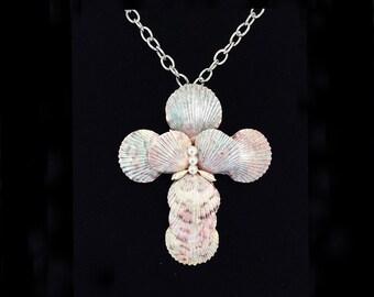 Scallop Shell Pendant Necklace, Shell Cross, Crucifix Necklace, Beach Jewelry, Christian Cross, Christian Jewelry