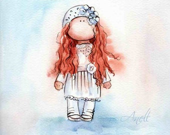 Red-haired Little girl Watercolor Print - Watercolor Painting - Poster Giclee wall print - Home Wall decor - Baby nursery print Kids room