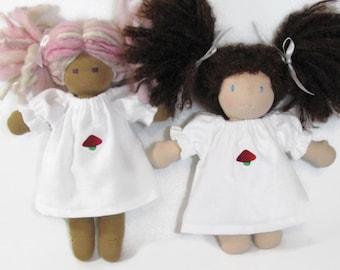 10 inch Waldorf Doll White flannel Nightgown, Doll Nightgown with Mushroom Patch, Waldorf nightgown, Simple Handmade Doll Sleepwear