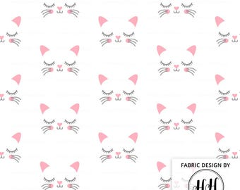 Kitty Face Fabric By The Yard / Cat Fabric / Girl Fabric for Nursery / Quilting Fabric / Pink and Gray Kitten Print in Yards & Fat Quarter