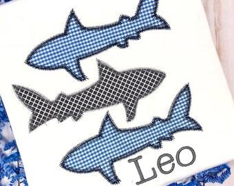 Shark Personalized Applique Boy Shirt, Shark Toddler Shirt, Beach Vacation, Summer Shirt, Fishing Shirt, Boy Applique, Personalized Shirt