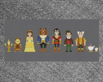 Cross Stitch Pattern Beauty and the Beast Characters Line-Up Parody Instant Download PDF Counted Chart