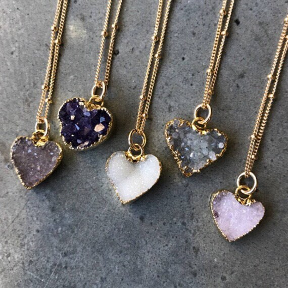 Heart Druzy Necklaces, druzy jewelry, Crystal Necklaces, Bridesmaids jewelry, wedding gift