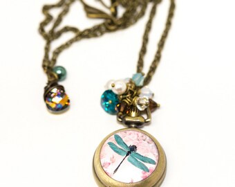 Dragonfly Antiqued Bronze Watch Pendant with Crystals, Pearls, and Glass