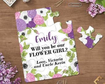 Floral Will You Be My Flower Girl Invitations Puzzle Proposal Violet Invitation Flower Girl Proposal Summer Wedding  Asking Bridesmaid Card
