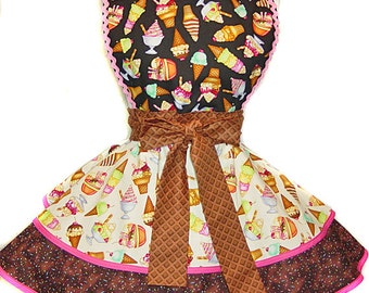 Ice Cream Dream Made-To-Order Pinup Apron/Retro Apron/Woman's Apron/Rockabilly/50s Style/Vintage Inspired Diner Apron/Party Apron