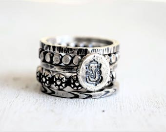 Ganesh Ring Stack - Ganesha Ring Stack - Sterling Silver - Yoga Jewelry - Good Luck in New Endeavors - Boho Ring Stack - Hand Stamped