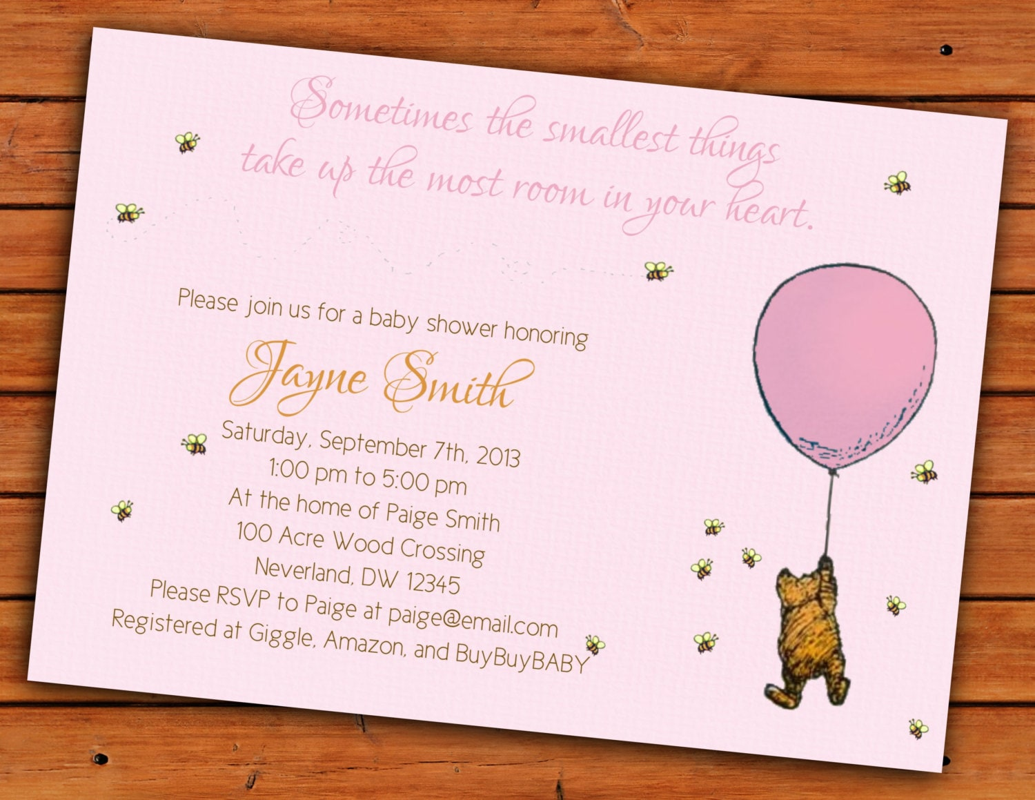 Classic Winnie the Pooh Pink Baby Girl Shower Invitation 4x6