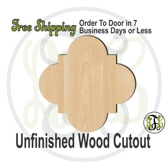 Plaque Quatrefoil- 40046- Cutout, unfinished, wood cutout, wood craft, laser cut shape, wood cut out, DIY, Free Shipping