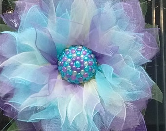HUGE Deco Mesh Flower with Beaded Center
