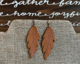 Leather leaf hand-embroidered earrings