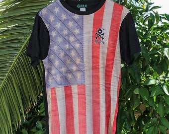 Vintage Woven American Flag Sublimation Shirt