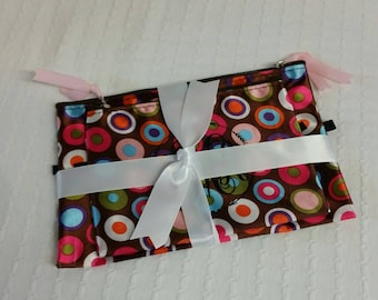 2pk zippered Pouches, Monogrammed pouches, Personalized bag.