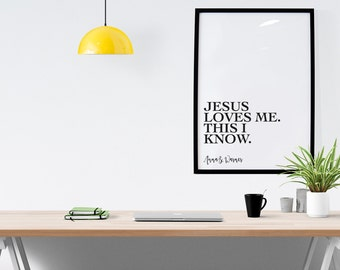 Jesus Loves Me Quote, Wall Art, Digital Download, Printable, Monochrome, A4, 8x10, Christian, Graphic Design,