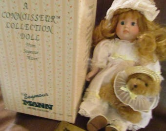 """1989 Seymour Mann """" Girl with Baby Bear"""" Collectible Doll"""