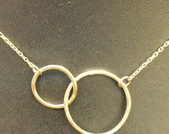 """14k gold Circles of eternal love,necklace 16"""" chain"""