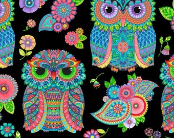 Large Owls and Coordinating Cotton Fabric