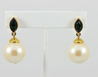 Vintage Faux Pearl and Green Rhinestone Drop Pierced Earrings / Large Faux Pearl Earrings / Green Rhinestone Earrings / Gold Drops