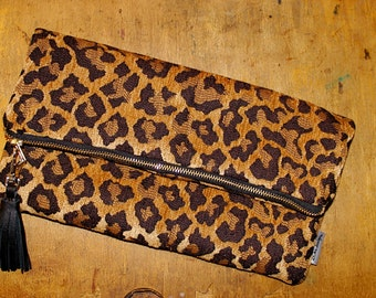 Leopard Clutch, Leopard Fold Over Clutch Bag, Fall Trends, Cheetah Bag, Woman's Fashion Bag with Leather Tassel, Animal Print Bag
