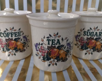 Vintage Le Bistro Tea, Coffee and Sugar Canisters made in the UK