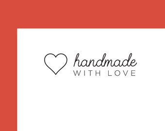 """Handmade with Love Stickers 2 5/8"""" x 1"""", Clear Handmade Stickers, Transparent Handmade Label, Handmade Labels, Packaging Sticker, SET OF 30"""